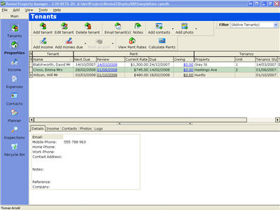 Click to view Rental Property Manager 2.30 screenshot